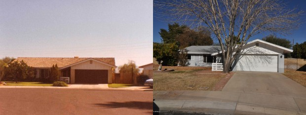 The homestead sometime in the late 1970s/early 80s (left) and in 2012 (right).